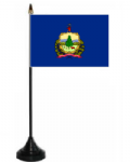 Vermont Desk / Table Flag with plastic stand and base.